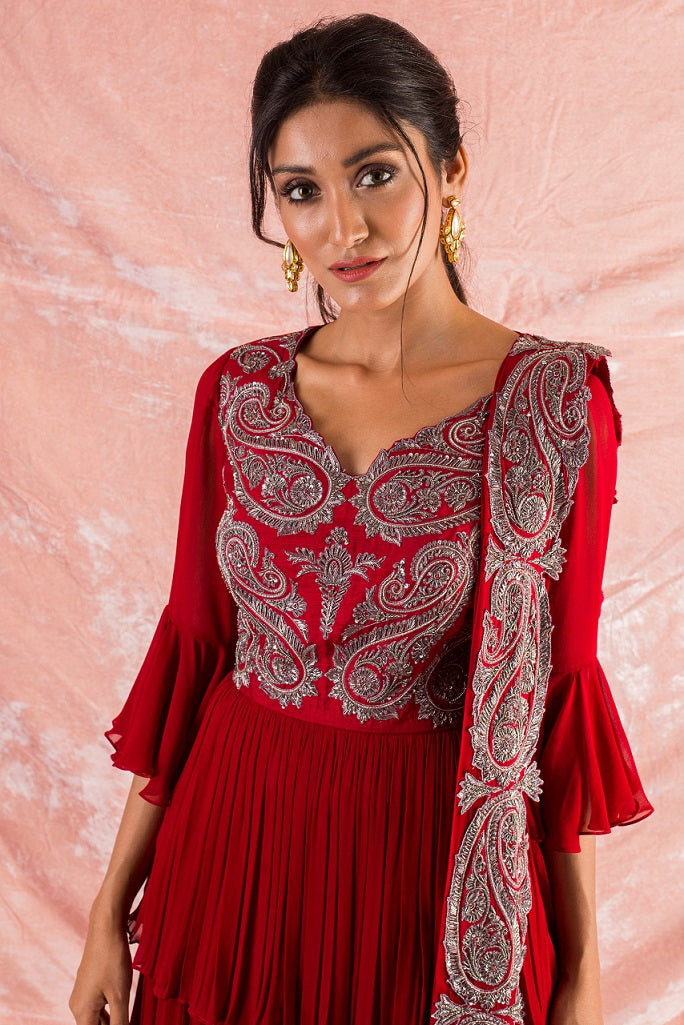 Red Embroidered Georgette Lengha With Blouse And Duppatta Online in USA-close up