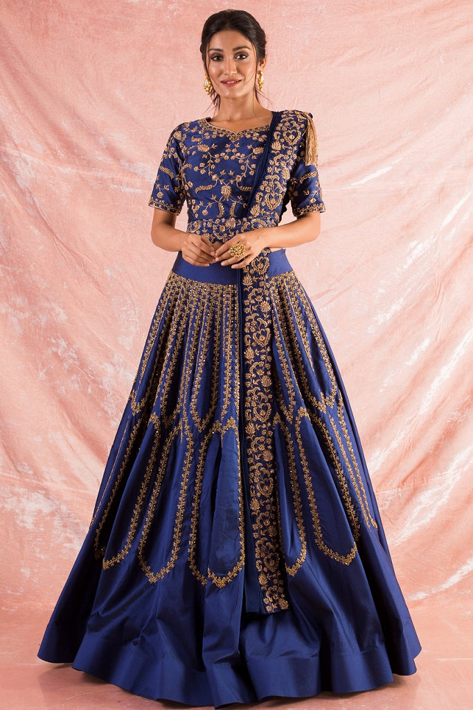 Blue Embroidered Silk Lengha With Blouse And Duppata Online in USA-full view