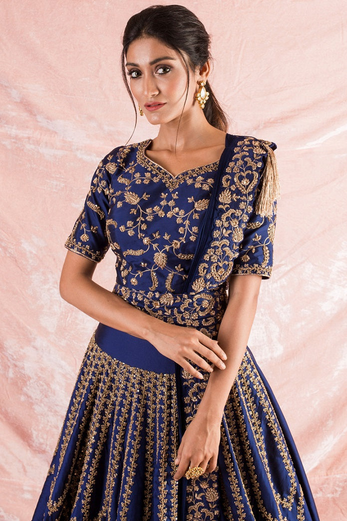 Blue Embroidered Silk Lengha With Blouse And Duppata Online in USA-close up