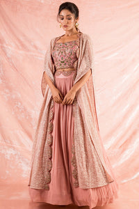 Pink Embroidered Georgette Lengha With Blouse-full view
