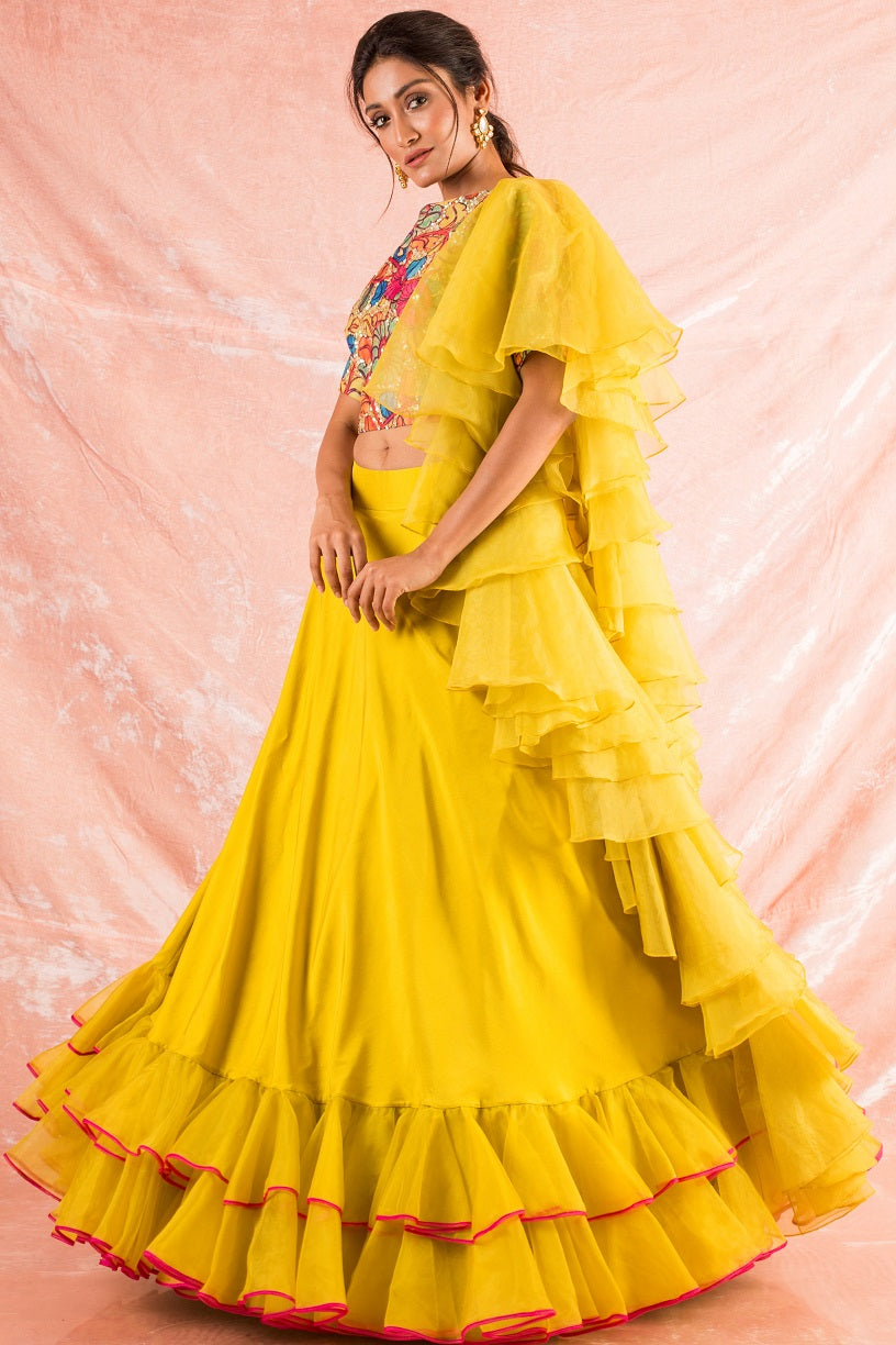 Yellow Embroidered Organza Lengha With Blouse Online in USA-full view