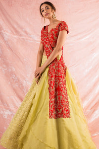 Red/Cream Embroidered  Lengha With Blouse  Online in USA-full view