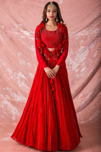 Red Embroidered Georgette Lengha With Blouse Online in USA-full view