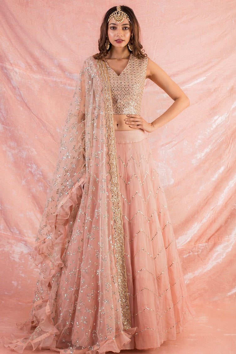 Pink Embroidered Organza Lengha With Blouse Online in USA-full view