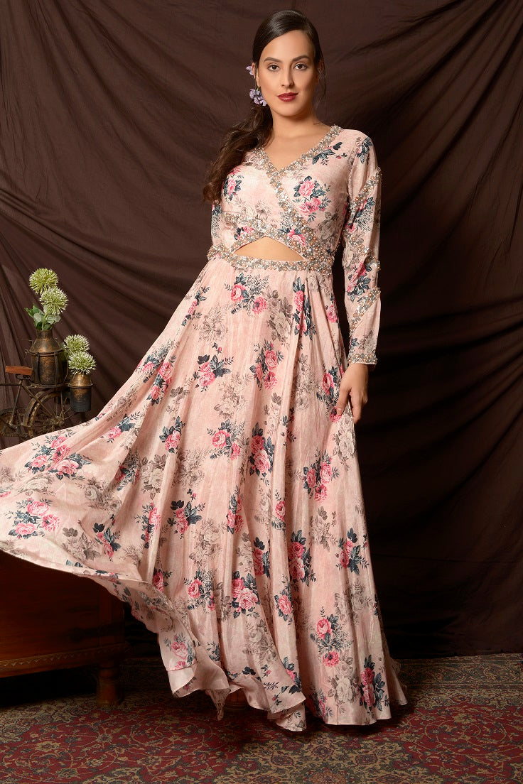 Shop gorgeous powder pink embroidered floral satin gown online in USA with wrap back. Shine at weddings and special occasions with beautiful Indian designer dresses, gowns, lehengas from Pure Elegance Indian clothing store in USA.-full view