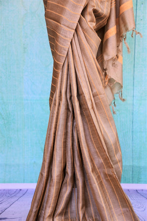 90C387 Brown Tussar Saree With Yellow Striped