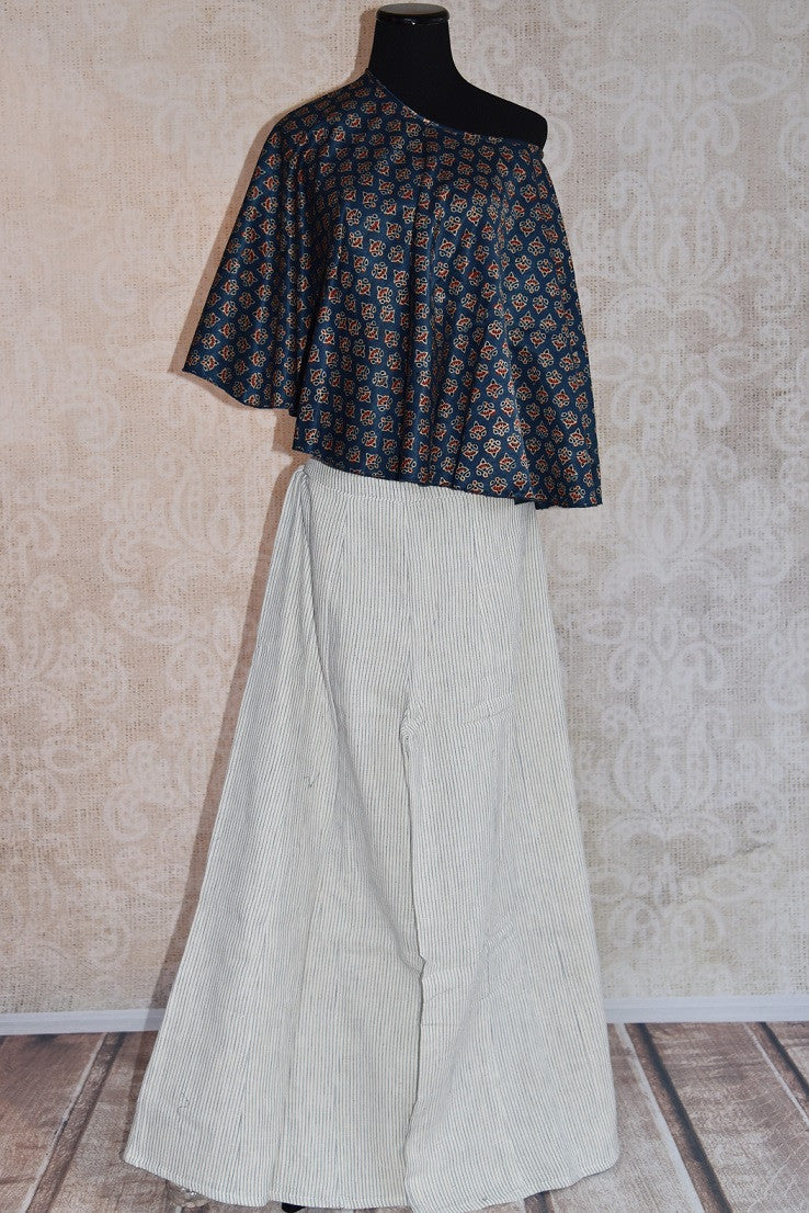 Buy the Indian ethnic pure silk cape and skirt with Ajrakh print online or from our Pure Elegance store in USA. The dress is perfect for any wedding or reception. Front View.