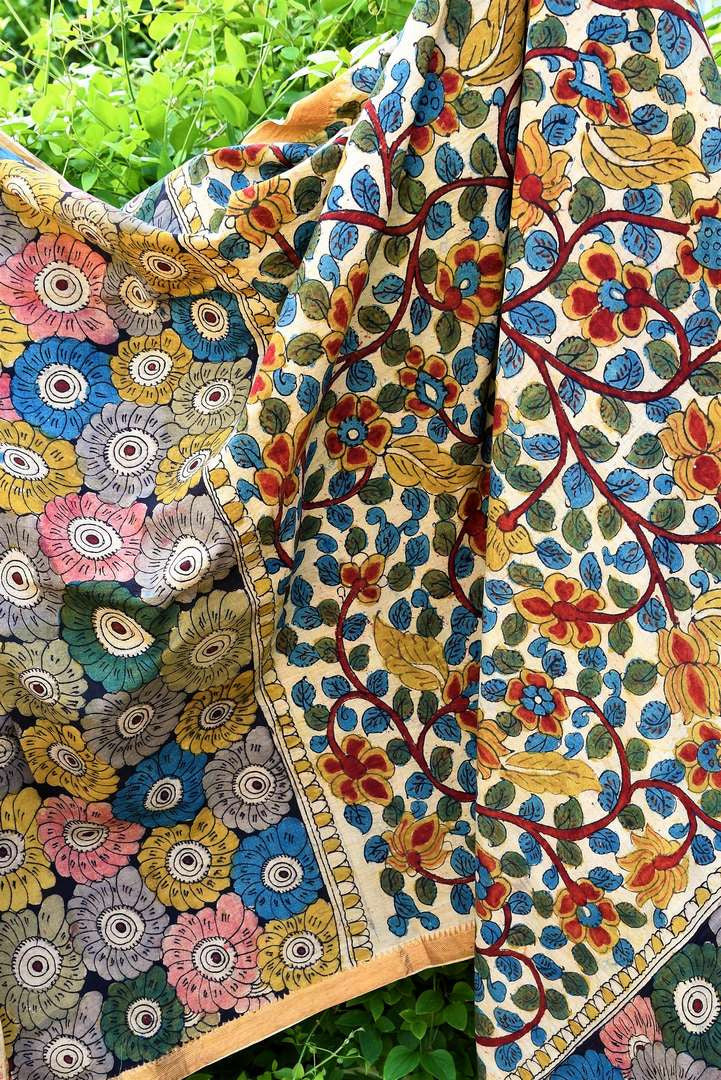 Buy beautiful multicolor handprinted Kalamkari Dupatta online in USA from Pure Elegance. Shop from our store exclusive Indian clothing for women in USA.-full view