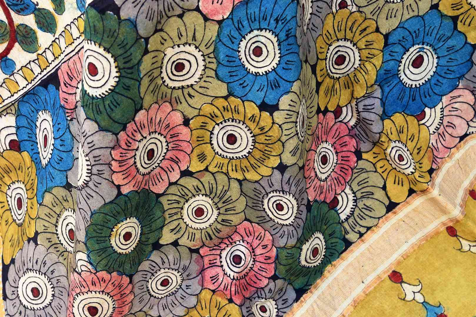 Buy beautiful multicolor handprinted Kalamkari Dupatta online in USA from Pure Elegance. Shop from our store exclusive Indian clothing for women in USA.-closeup