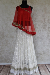 Buy this Indian ethnic indo western polka dots lace hem dress online or from our Pure Elegance store in Edison, NJ. It is perfect for any sangeet or baby shower. Red and White.