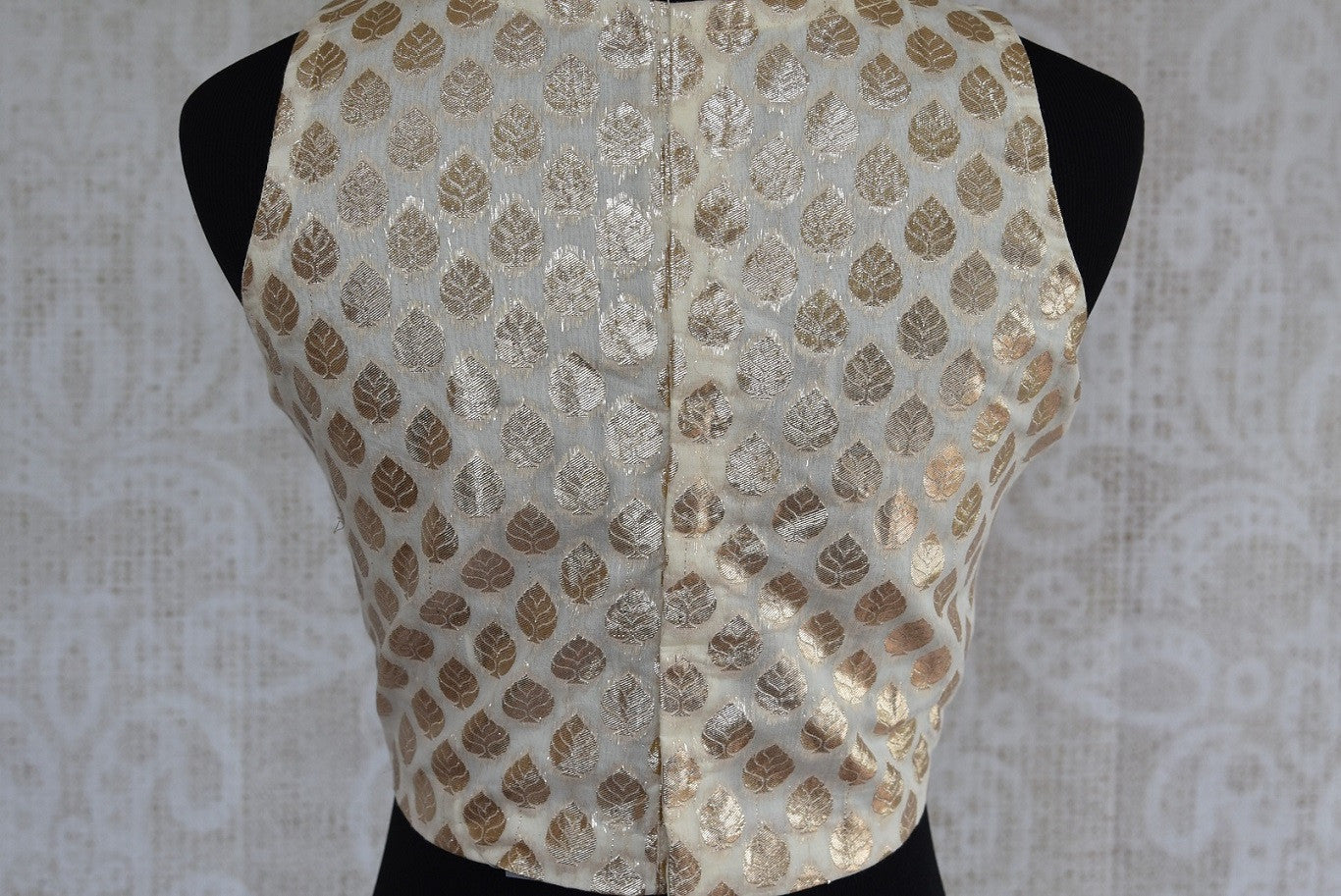 Shop this classy Indian traditional designer blouse online or our Pure Elegance store in Edison. The crop top styled blouse is perfect for any prom or engagement. Back View.