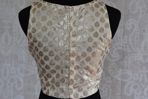 Shop this Indian traditional designer Bollywood fashion blouse online and at our store in USA. The traditional saree blouse is ideal for any baby shower or prom. Back View.