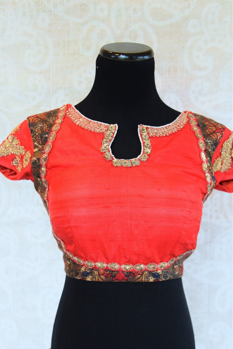 Buy this traditional Indian designer Low Back Embroidered blouse online or from our store in USA. Semi sleeved saree blouse is perfect for any bridesmaid or garba. Red and Black.