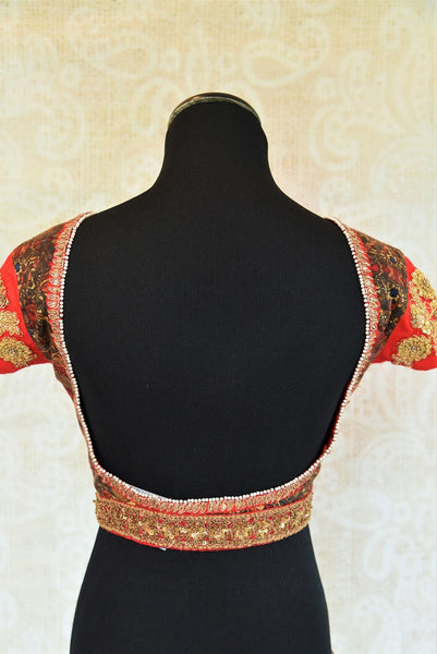 Buy this traditional Indian designer Low Back Embroidered blouse online or from our store in USA. Semi sleeved saree blouse is perfect for any bridesmaid or garba. Low Back.