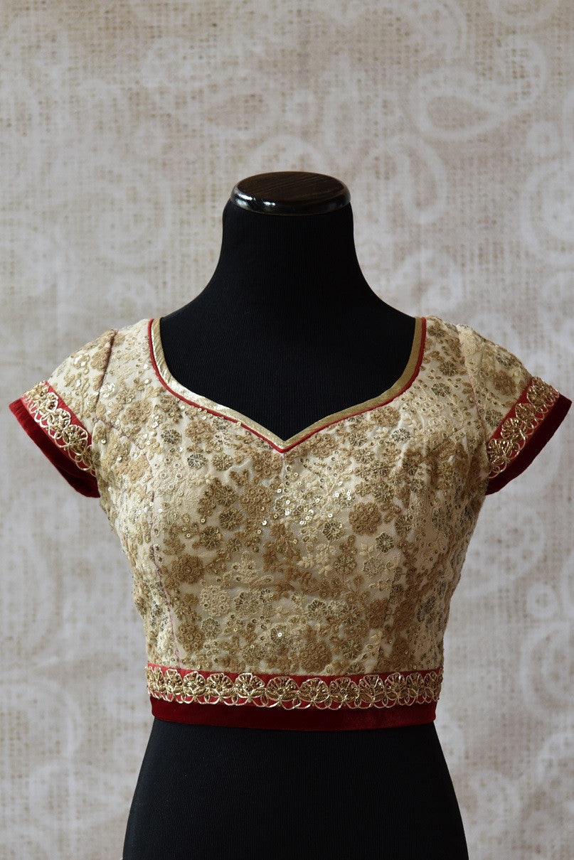 Shop this Indian ethnic designer cotton silk blouse online or from our Pure Elegance store in USA. The velvet blouse is perfect for any wedding or engagement party. Front View.