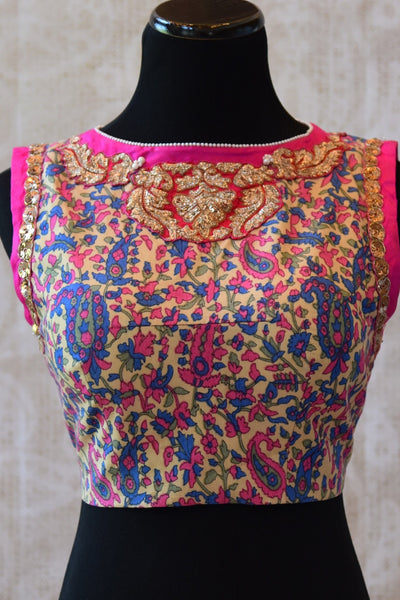 Shop this Indian Ethnic crepe silk blouse with satin embroidery online or from our Pure Elegance store in Edison. This designer blouse is ideal for any wedding. Front View.