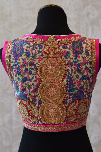 Shop this Indian Ethnic crepe silk blouse with satin embroidery online or from our Pure Elegance store in Edison. This designer blouse is ideal for any wedding. Patch Work.
