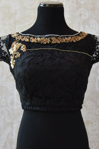 Shop this ethnic Indian cotton silk lace blouse with gold zardozi online or from our Pure Elegance store in Edison. Perfect for any wedding party or reception. Front View.