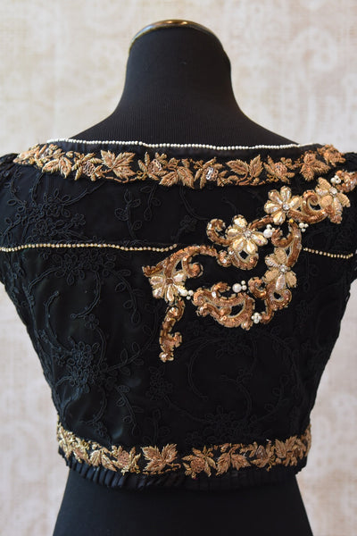 Shop this ethnic Indian cotton silk lace blouse with gold zardozi online or from our Pure Elegance store in Edison. Perfect for any wedding party or reception. Gold Embroidery.