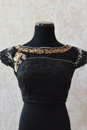 Shop this ethnic Indian cotton silk lace blouse with gold zardozi online or from our Pure Elegance store in Edison. Perfect for any wedding party or reception. Semi sleeved.
