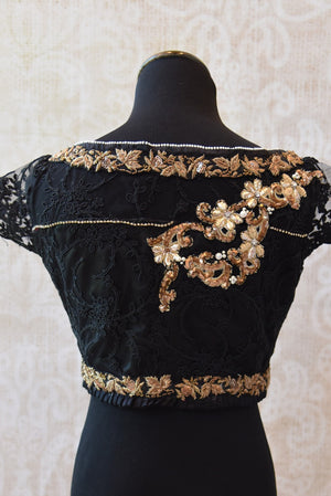 Shop this ethnic Indian cotton silk lace blouse with gold zardozi online or from our Pure Elegance store in Edison. Perfect for any wedding party or reception. Boat Neck.