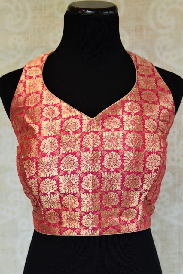 Shop this Indian traditional woven crop top styled designer blouse online or from our store in Edison. The Bollywood style saree blouse is perfect for any wedding. Front Look.