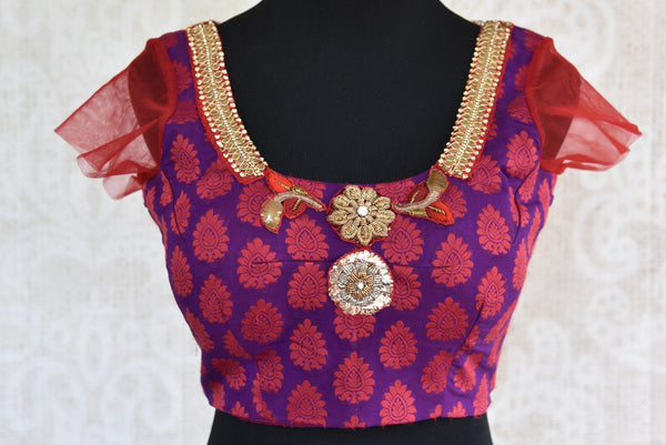 Shop this traditional zardozi benarasi Indian georgette designer blouse from Pure Elegance perfect for any wedding from our Pure Elegance store in USA or online. Front View.