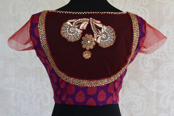 Shop this traditional zardozi benarasi Indian georgette designer blouse from Pure Elegance perfect for any wedding from our Pure Elegance store in USA or online. Back View.
