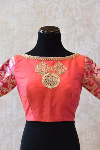 Shop this ethnic Indian raw silk blouse with brocade sleeves from Pure Elegance store in USA and online. It is perfect saree blouse to go for any wedding party. Boatneck.