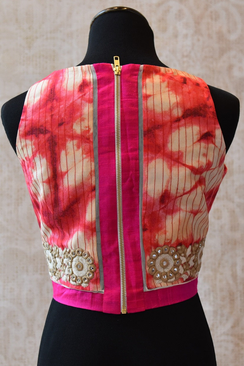 Buy this bollywood style traditional Indian sari blouse online or from our Pure Elegance store near NYC. The Crop top blouse is ideal for any prom or baby shower. Crop Top Blouse.