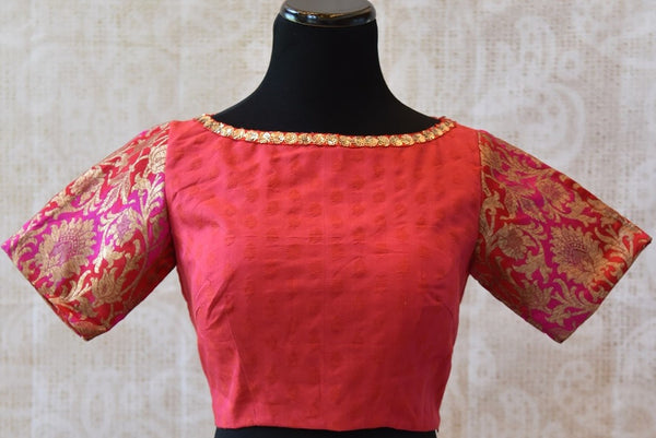 Buy this ethnic Indian cotton silk blouse online or from our Pure Elegance store in Edsion near NJ. This boatneck blouse is perfect for any wedding or engagement. Boat Neck Blouse.