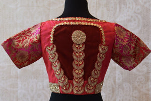 Buy this ethnic Indian cotton silk blouse online or from our Pure Elegance store in Edsion near NJ. This boatneck blouse is perfect for any wedding or engagement. Red Blouse.