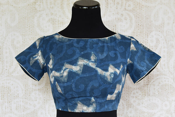 Blue pre stitched cotton designer blouse. Classic blouse to pair with any solid linen saree.-full view