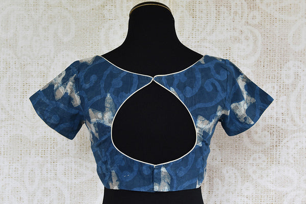 Blue pre stitched cotton designer blouse. Classic blouse to pair with any solid linen saree.-back