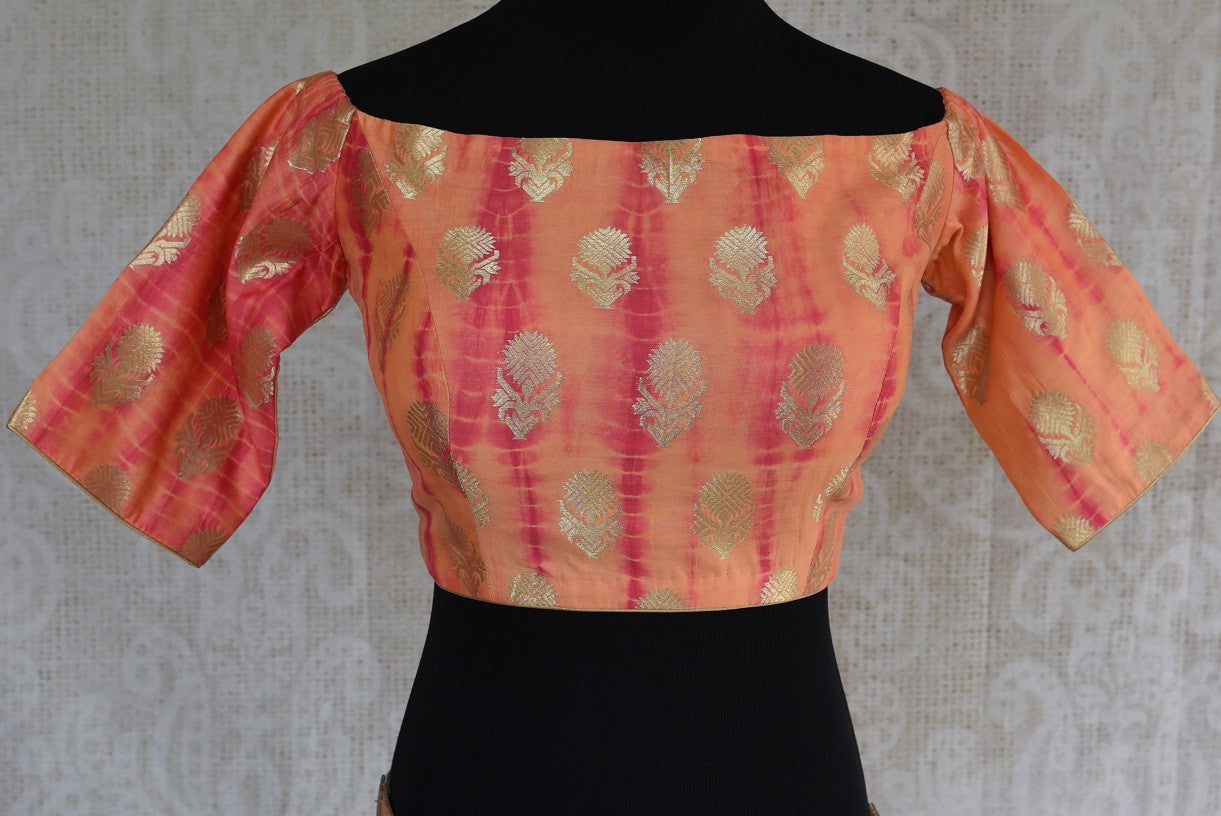 Shop this Indian traditional banarasi silk tie and die boat neck designer blouse from our Pure Elegance store in USA or online. Perfect for any wedding or prom. Boat Neck Blouse.