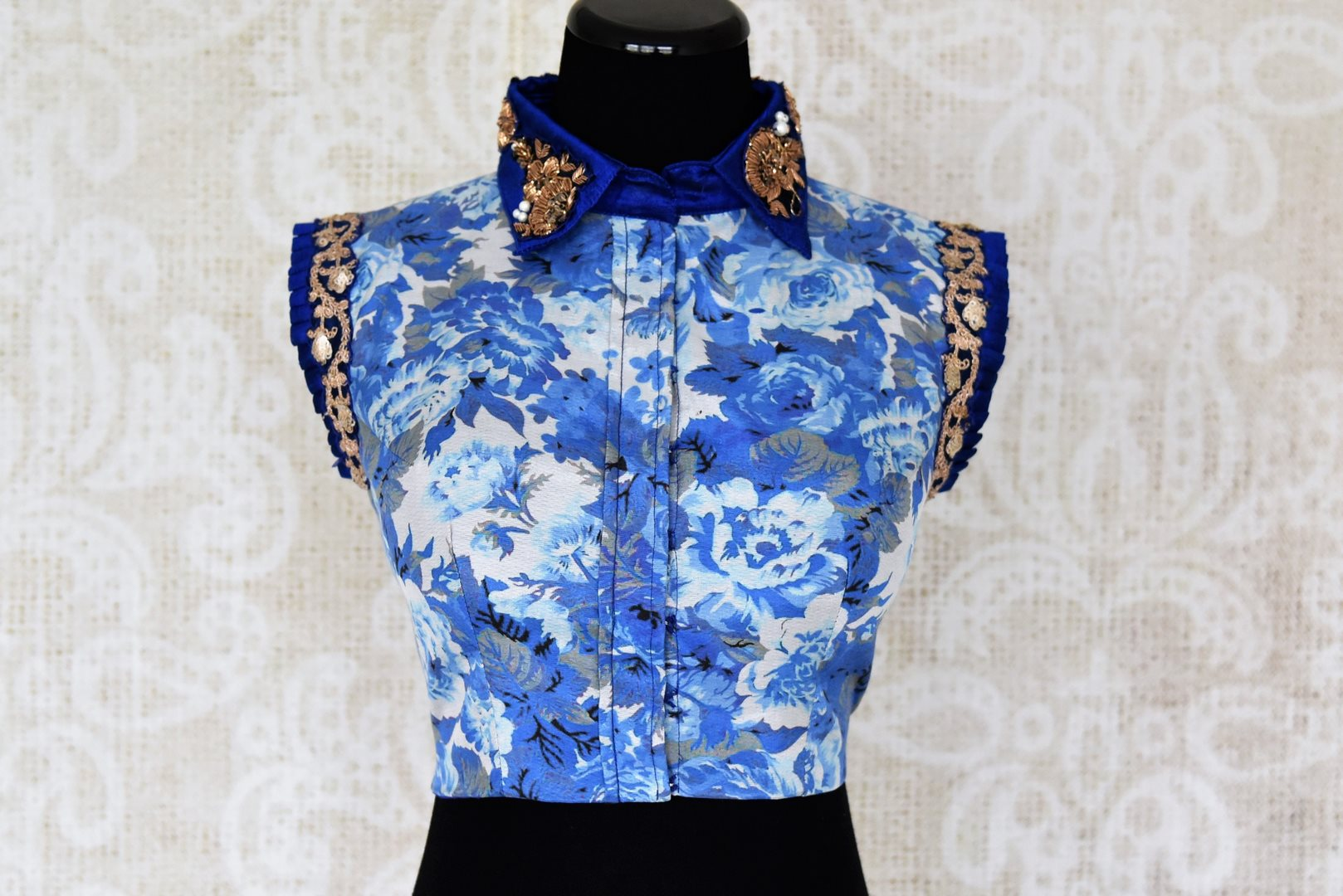 Buy blue floral print embroidered silk saree blouse online in USA. Elevate your traditional Indian sarees with matching and contrasting designer saree blouses from Pure Elegance Indian clothing store in USA.-front
