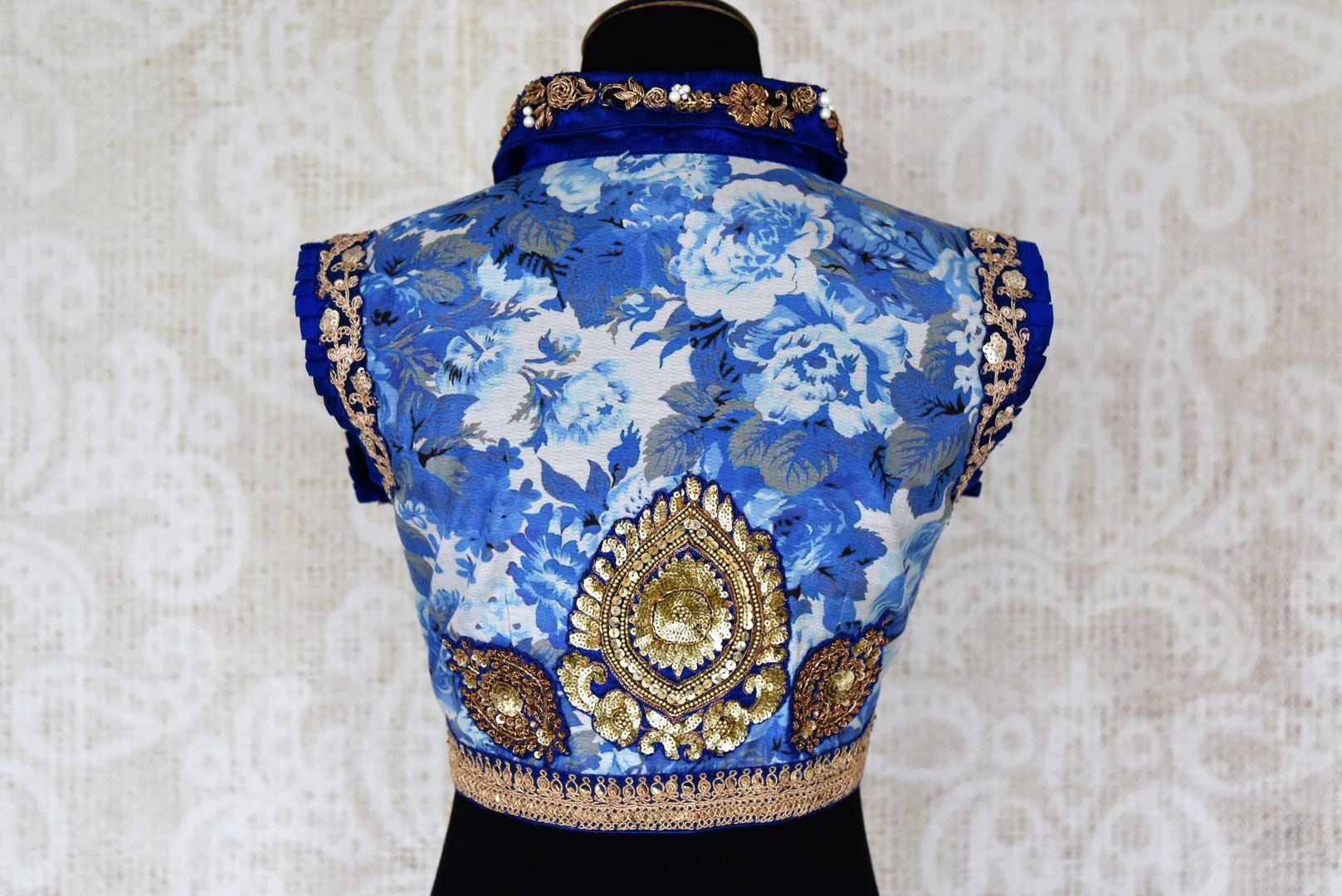 Buy blue floral print embroidered silk saree blouse online in USA. Elevate your traditional Indian sarees with matching and contrasting designer saree blouses from Pure Elegance Indian clothing store in USA.-back
