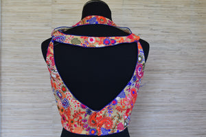 Shop this ethnic Indian cotton designer blouse from Pure Elegance store online or at our store in USA. Crop top style blouse is ideal for any baby shower or prom. Sexy Back.