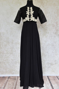 Shop this ethnic Indian black Bollywood georgette long dress online or from our Pure Elegance store in USA. It is perfect for any baby shower or sangeet party. Front View.