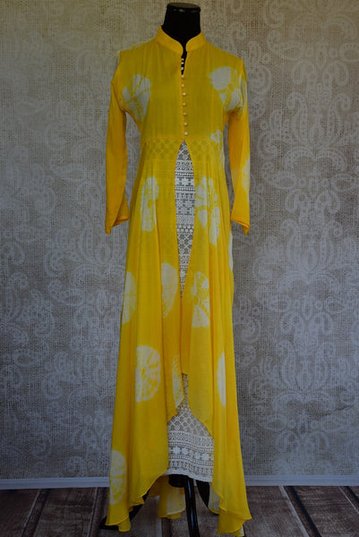 Shop this ethnic Indian tie dye long dress with lace from Pure Elegance online or from our store near NYC. It is perfect for any wedding or engagement party. Front View.