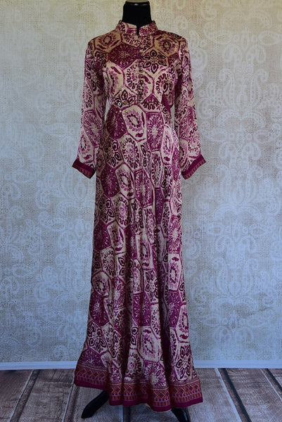 Buy the ethnic Indian wine red silk one piece long dress from Pure Elegance online or from our store in USA. It is perfect for any wedding party or engagement.  Front View.