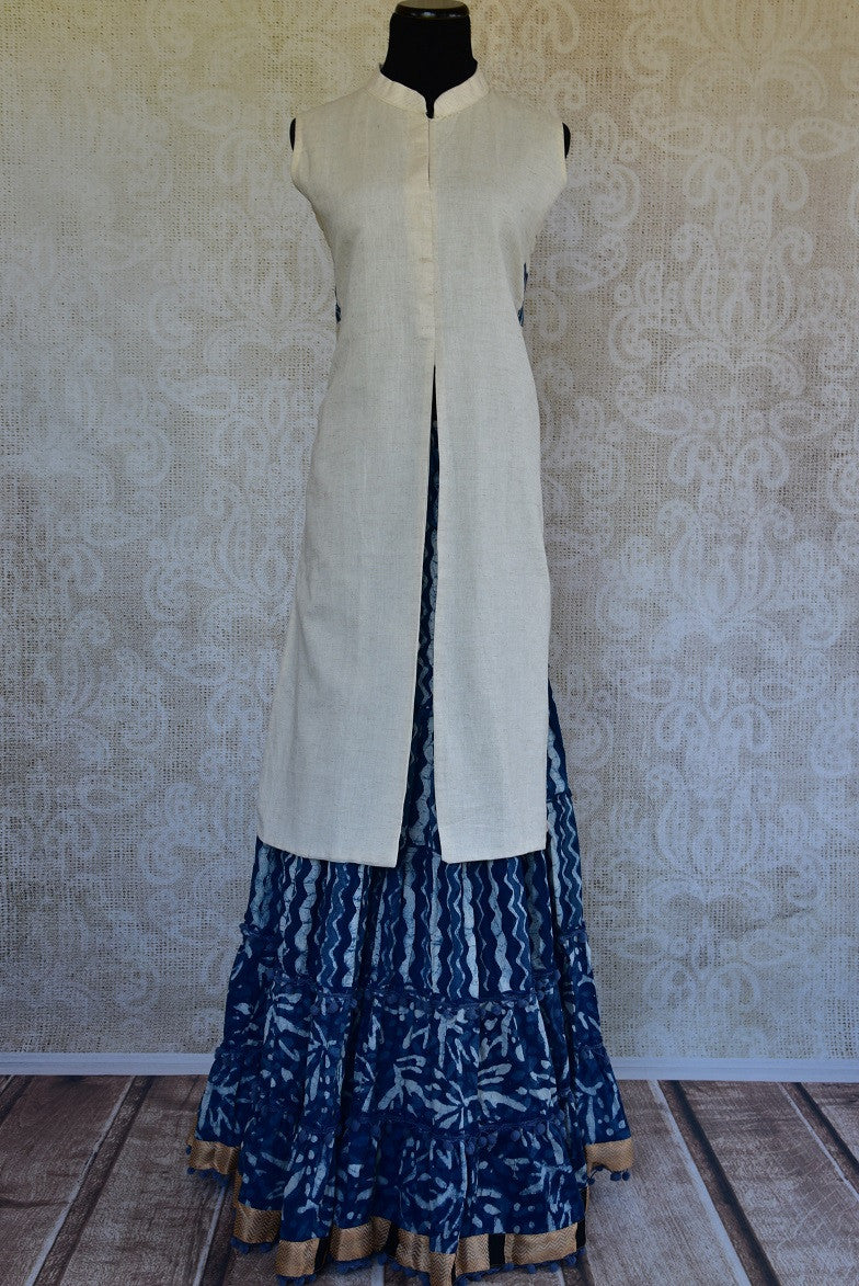 Shop the traditional Indian off white and indigo blue two piece cotton dress online or from our store in NYC. It is perfect for any wedding or reception party. Two Piece.