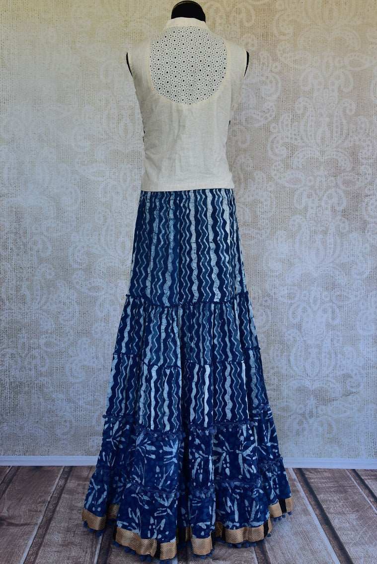 Shop the traditional Indian off white and indigo blue two piece cotton dress online or from our store in NYC. It is perfect for any wedding or reception party. Back View.