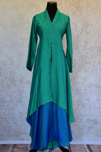 Shop this ethnic Indian blue and green raw silk dress from Pure Elegance online or from our store in Edison. It is perfect for any reception or wedding party. Front View.