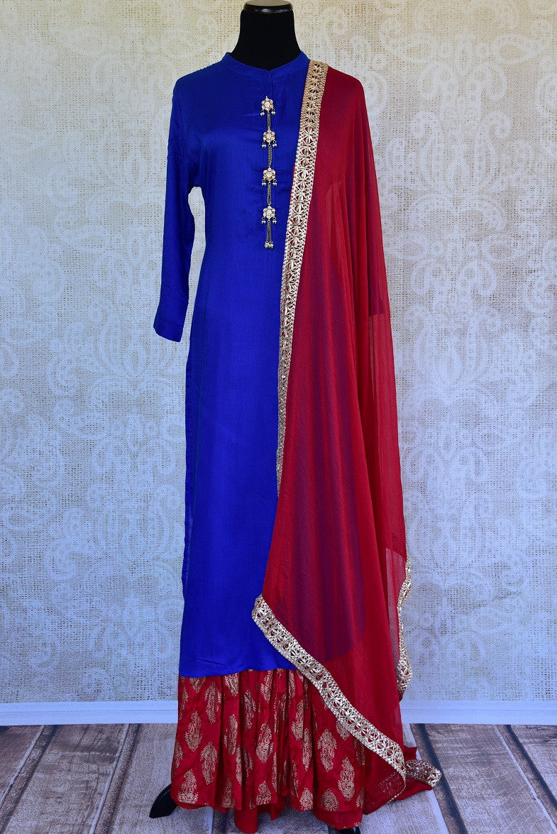 Shop this ethnic Indian red and blue rayon two piece dress ideal for any engagement or birthday party from Pure Elegance online or from our store in Edison NJ. Front View.