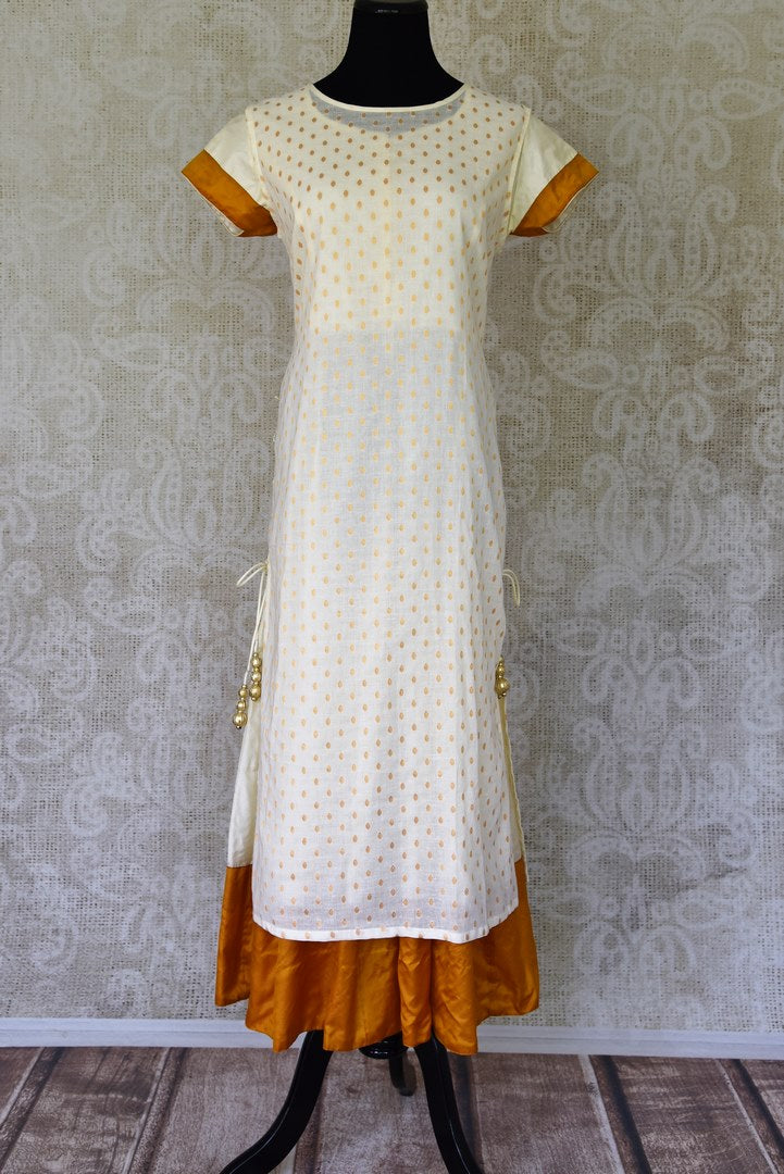 Shop off-white one piece cotton dress online in USA from Pure Elegance Indian fashion store in USA. Make a stylish fashion statement this summer with a range of exquisite Indian dresses available online and at our clothing store in USA. Shop now.-full view