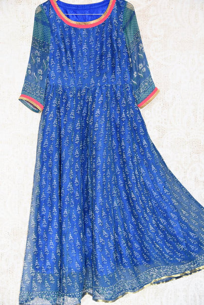 Buy blue printed chiffon Indowestern dress online in USA. Find stylish Indian designer dresses in USA at Pure Elegance online clothing store for women. Shop now.-full view