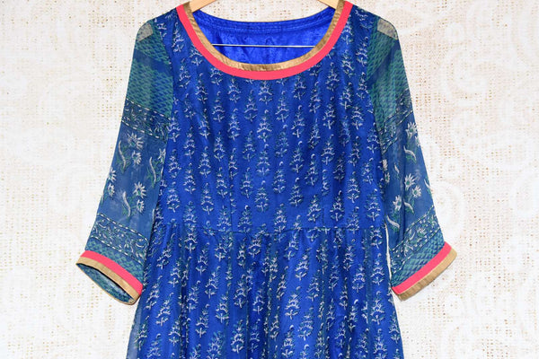 Buy blue printed chiffon Indowestern dress online in USA. Find stylish Indian designer dresses in USA at Pure Elegance online clothing store for women. Shop now.-top