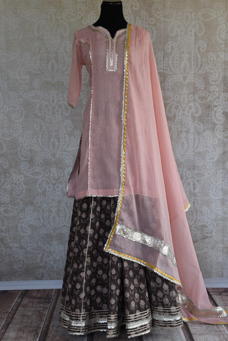 Buy the Indian traditional skirt kurta set with chunni online or from our Pure Elegance store in Edison near NJ. It is ideal for any wedding party or engagement.  Front View.