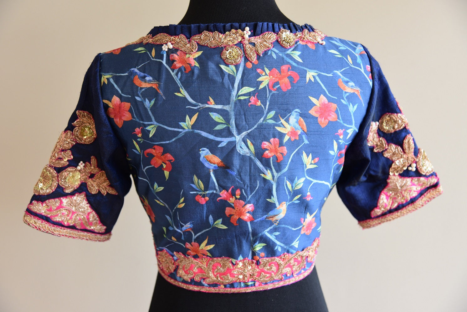 Shop this ethnic Indian designer silk blouse with floral print online or from our Pure Elegance store in USA. It is perfect for any wedding or reception party. Back View.